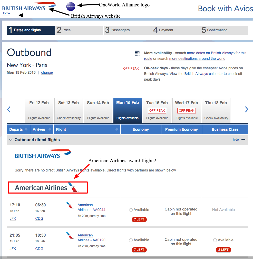 Using British Airways Avios on American Airlines flights