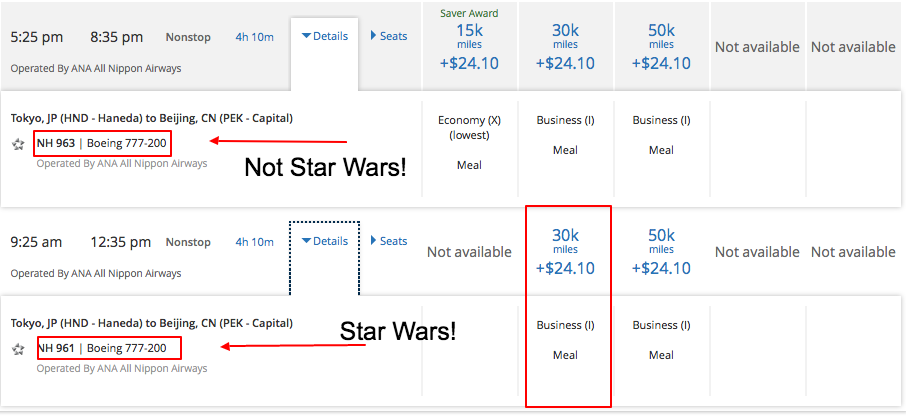 There are only business class seats available on the Star Wars jet