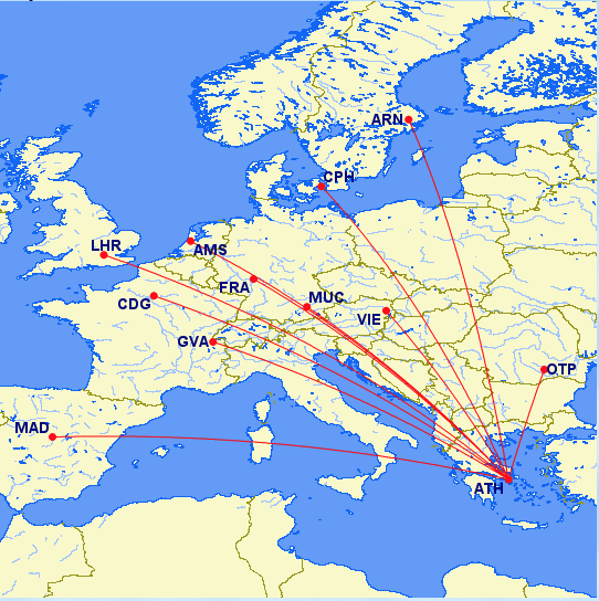 Intra-European routes to Athens