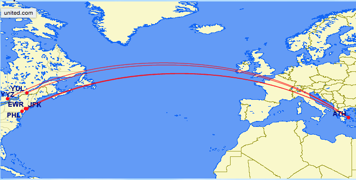 Seasonal North American routes to Athens