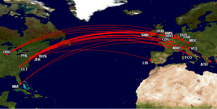 Lack Of American Airlines Award Space Europe Mining For Miles - Us airways europe route map