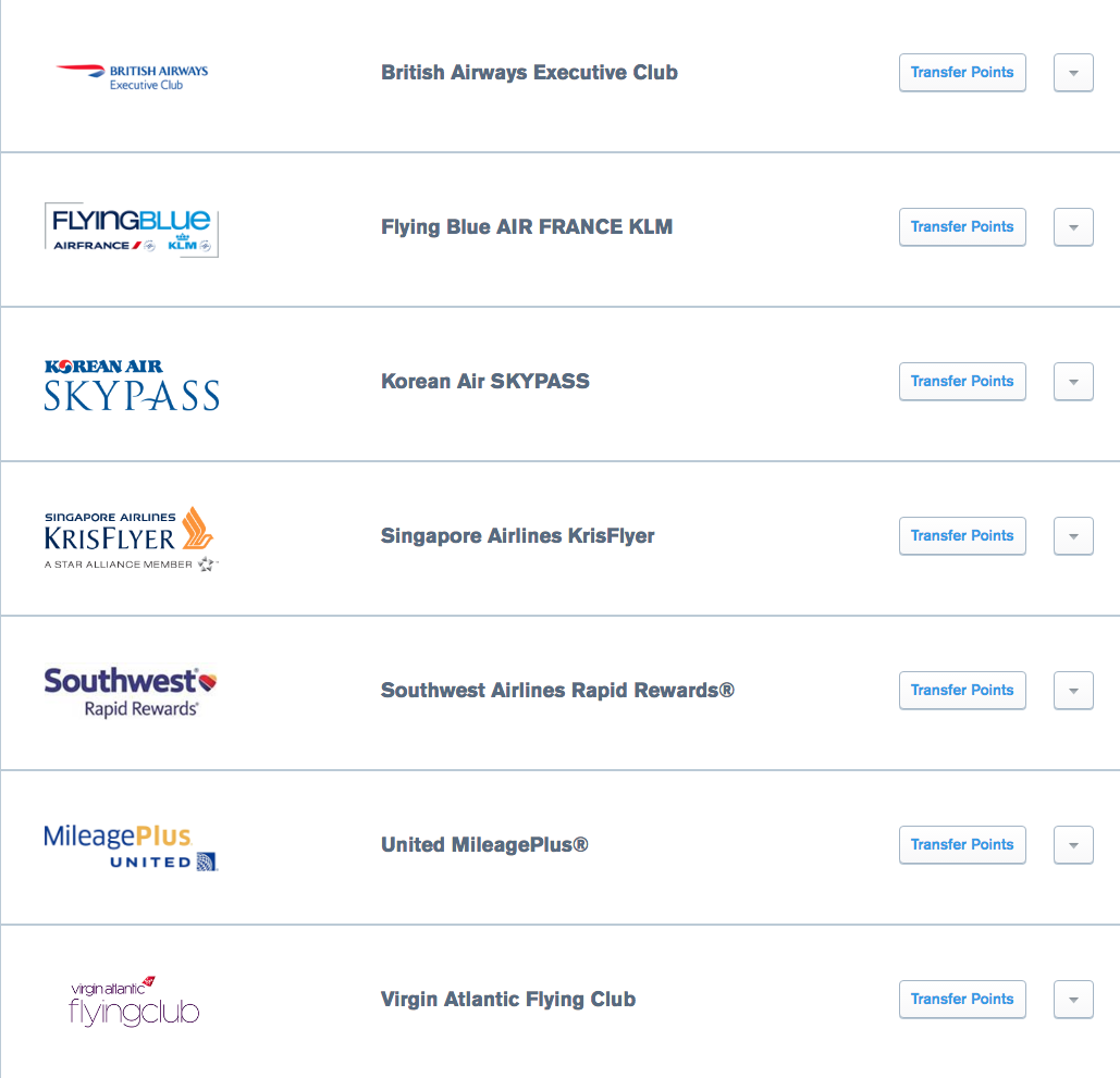 Points Transfer - Airlines