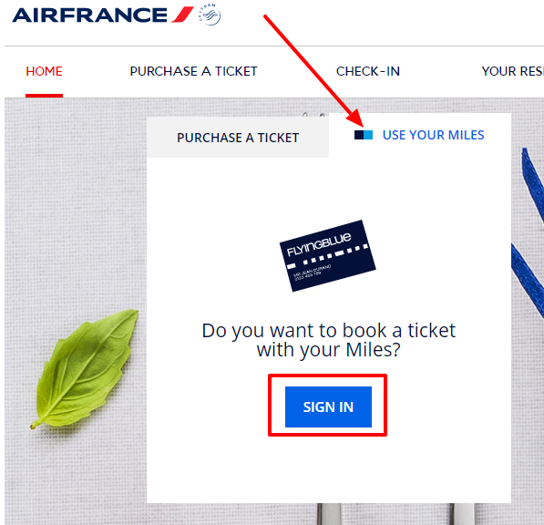 You must sign-in before you can book an award with your FlyingBlue miles