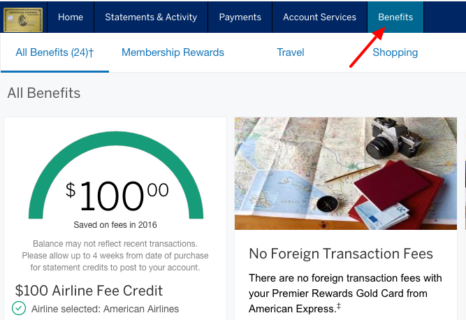 Airline Fee Credit Card Benefits American Express