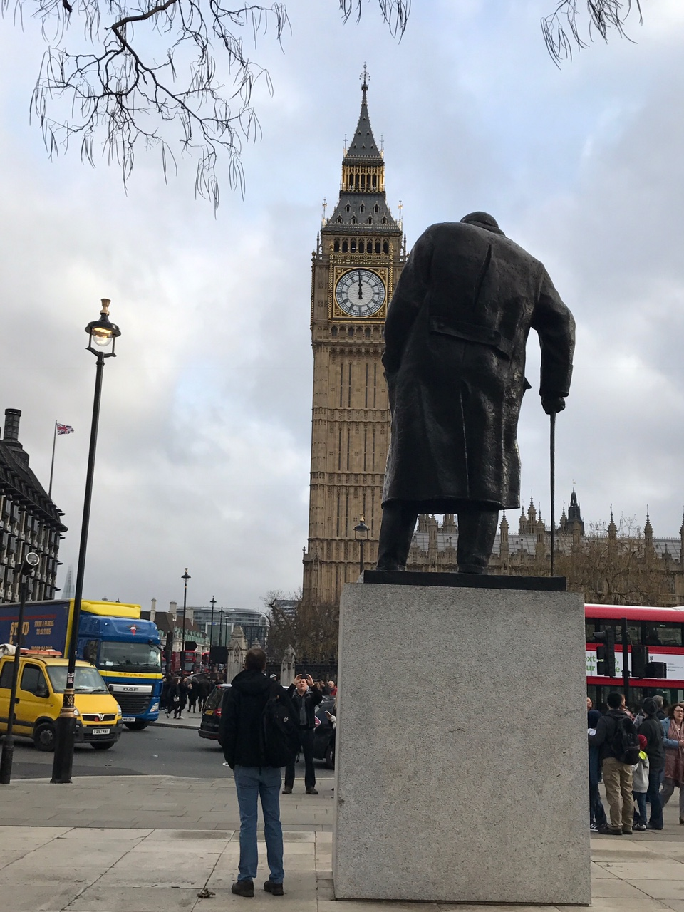 View of Winston Churchill looking at Big Ben