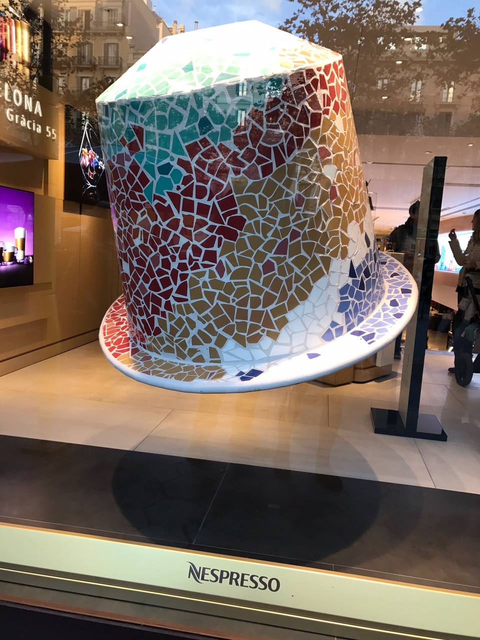 Giant Nespresso pod made of mosaic tiles!